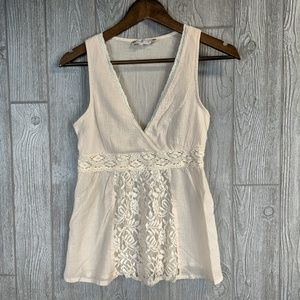 Flying Tomato Lace Accent Cream Tank Top